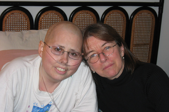 Me and Dr. Keohan, my oncologist, on my bed on Sunday the 4th